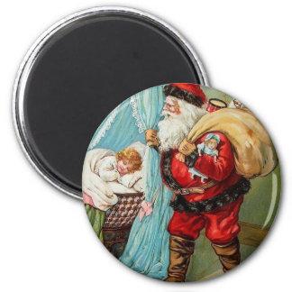 Santa Claus Christmas Vintage Postcard Art 6 Cm Round Magnet
