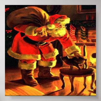 Santa Claus Christmas Vintage Print