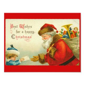 Santa Claus Christmas Vintage Style Custom Invitation