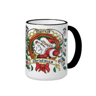 Santa Claus Christmas Wreath Coffee Mugs