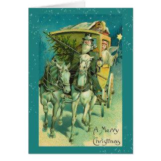 Santa Claus Coach Christmas Eve Card