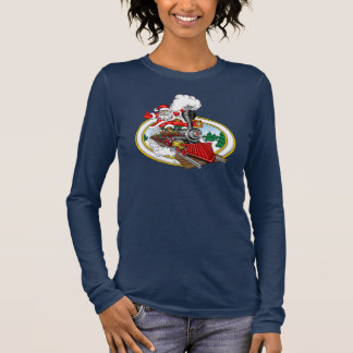Santa Claus coming at you aboard a steam locomotiv Long Sleeve T-Shirt