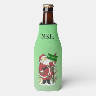 Santa Claus Cute Animals Merry Christmas Bottle Cooler