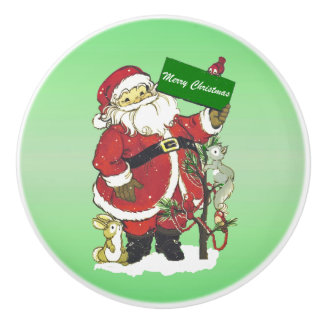 Santa Claus Cute Animals Merry Christmas Ceramic Knob
