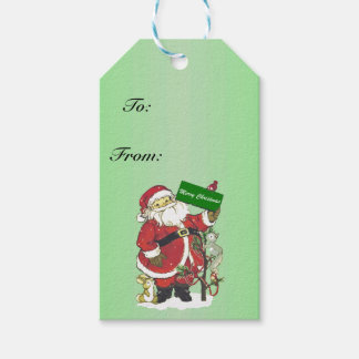 Santa Claus Cute Animals Merry Christmas Gift Tags