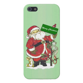 Santa Claus Cute Animals Merry Christmas iPhone 5 Cover