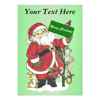 Santa Claus Cute Animals Merry Christmas Magnetic Invitations