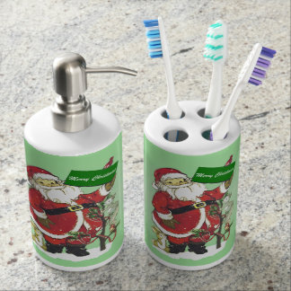 Santa Claus Cute Animals Merry Christmas Soap Dispenser And Toothbrush Holder
