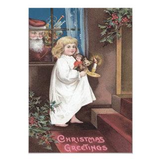 Santa Claus Cute Little Girl Toys Holly 13 Cm X 18 Cm Invitation Card