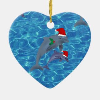 santa claus dolphins christmas ornament