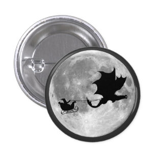 Santa Claus Dragon Rider Sleigh Ride 3 Cm Round Badge