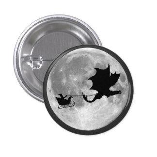 Santa Claus Dragon Rider Sleigh Ride 3 Cm Round Badge