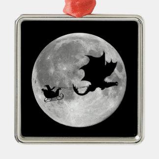 Santa Claus Dragon Rider Sleigh Ride Christmas Ornament