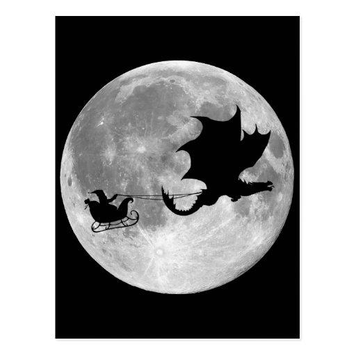 Santa Claus Dragon Rider Sleigh Ride Postcard
