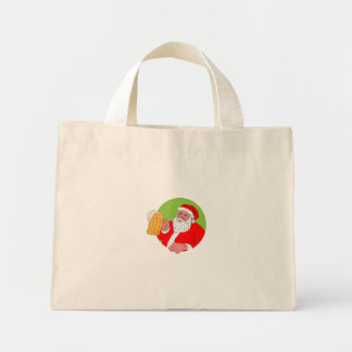 Santa Claus Drinking Beer Drawing Mini Tote Bag