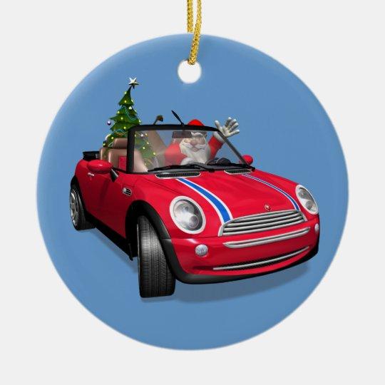 Santa Claus Driving A Mini Christmas Ornament