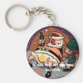 santa-claus-drunk, the Father Christmas is a truth Basic Round Button Key Ring