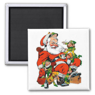 Santa Claus - Elf Grooming Square Magnet