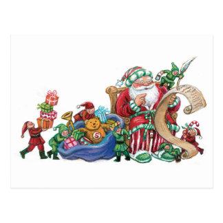 Santa Claus, Elves and Toys Christmas Postcard