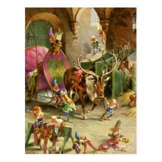 Santa Claus' Elves In HIs North Pole Workshop Post Card