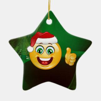 santa claus emojis ceramic star decoration