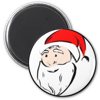 Santa Claus Face 6 Cm Round Magnet