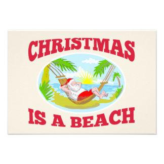Santa Claus Father Christmas Beach Relaxing Invite