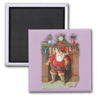 Santa Claus Fireplace Square Magnet