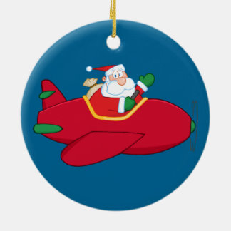 Santa-Claus-Flying-A-Plane-And-Waving Christmas Ornament