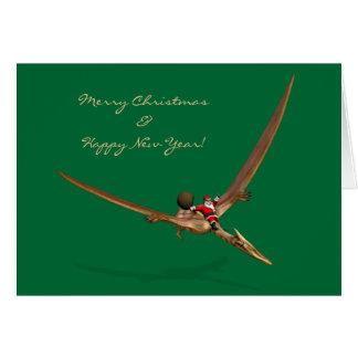 Santa Claus Flying On Dinosaur Greeting Card
