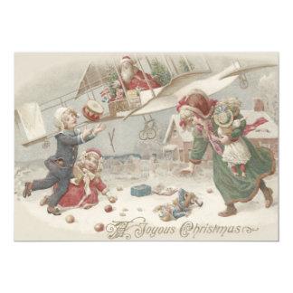 Santa Claus Flying Toys Christmas Tree Children 13 Cm X 18 Cm Invitation Card