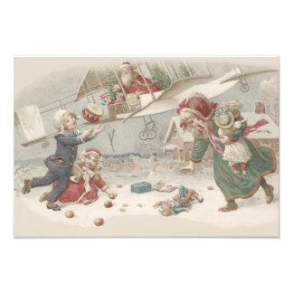 Santa Claus Flying Toys Christmas Tree Children Photo Print