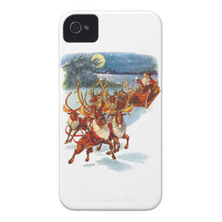 Santa Claus Flying With His Reindeer Guided Sleigh iPhone 4 Case