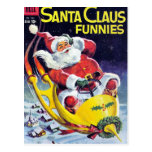 Santa Claus Funnies - Rocket Sled Postcard