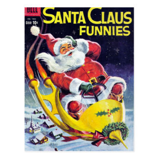 Santa Claus Funnies - Rocket Sled Postcard