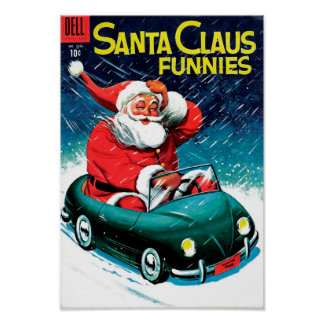 Santa Claus Funnies - Toy Car Poster