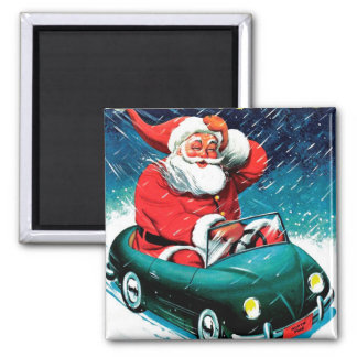 Santa Claus Funnies - Toy Car Square Magnet