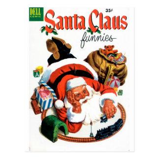 Santa Claus Funnies - Train Set Postcard