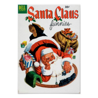 Santa Claus Funnies - Train Set Poster