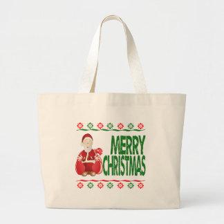 Santa Claus Gift Bag Ugly Xmas Sweater Tote Bag