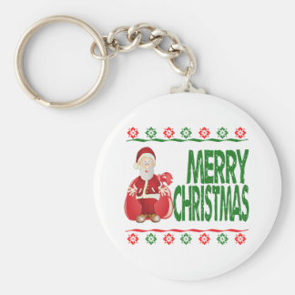 Santa Claus Gift Bag Ugly Xmas Sweater Keychains