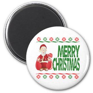 Santa Claus Gift Bag Ugly Xmas Sweater Refrigerator Magnets