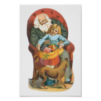 Santa Claus, Girl and Dog Poster