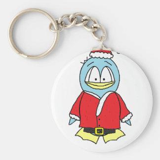 Santa Claus Gito the Penguin Basic Round Button Key Ring