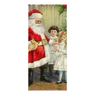 Santa Claus giving gifts to children vintage illus Rack Cards