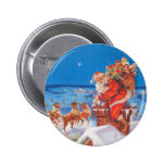 Santa Claus Goes Down the Chimney Pinback Buttons