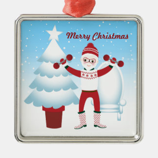 Santa Claus goes to the gym Christmas Ornament