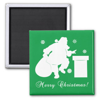 Santa Claus Going Down Chimney Name Customizable Square Magnet