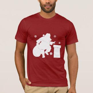 Santa Claus Going Down Chimney T-Shirt