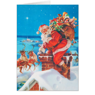 Santa Claus Going Down the Chimney Card